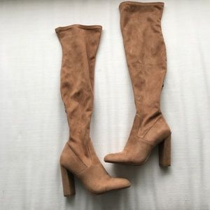 Steve Madden Brown Faux Suede Over the Knee Boots